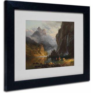 "Trademark Fine Art ""Indians Spear Fishing"" Canvas Art by Albert Bierstadt, Black Frame"