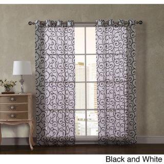 VCNY Scroll Flocked 84 inch Maya Grommet Curtain Panel Pair