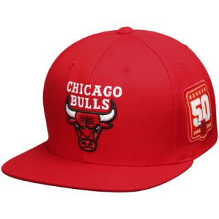Chicago Bulls Mitchell & Ness 50th Anniversary Adjustable Hat   Red