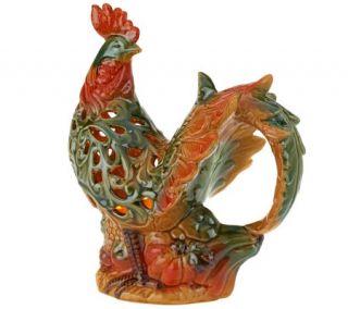 Illuminated Ceramic Pierced Rooster —