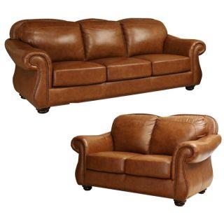 ABBYSON LIVING Arizona Top Grain Leather Sofa and Loveseat Set