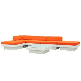 East End Imports EEI 608 EXP ORA SET Laguna Outdoor Rattan 6 Piece Set in Espresso with Orange Cushions