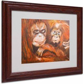 "Trademark Fine Art ""Apes"" Canvas Art by Judy Harris, Wood Frame"