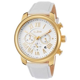 a_line Amor Chronograph White Genuine leather & Gold tone Dial