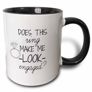 3dRose Does this ring make me look engaged black with white background, Two Tone Black Mug, 11oz