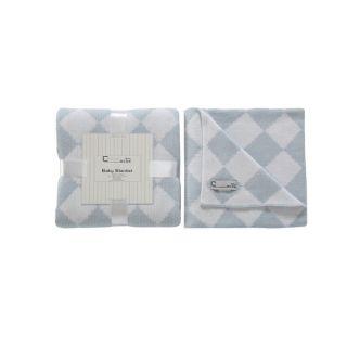 Cream Bebe Argyle 100 percent Cotton Knit Blanket Blue/White