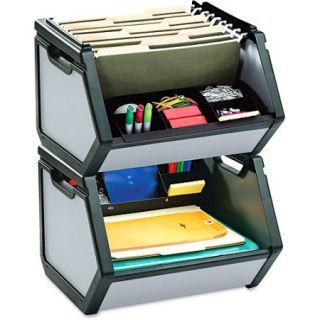 find It Stackable Bin Storage Box, Letter, Plastic, 15 3/4 x 15x 14, Gray