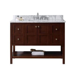 Virtu USA Winterfell 48 in. W x 22 in. D Vanity in Cherry with Marble Vanity Top in White with White Basin ES 30048 WMRO CH NM