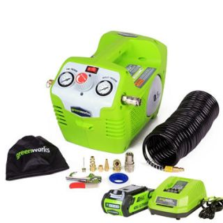 GreenWorks 41432 G MAX 40V 115 PSI Cordless Air Compressor with 2AH Battery and Charger