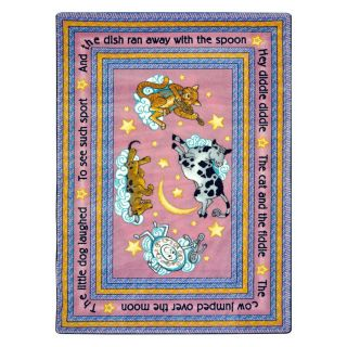 Joy Carpets Hey Diddle Diddle 7 ft 7 in x 7 ft 7 in Round Multicolor Educational Area Rug