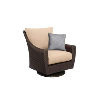 Brown Jordan Highland Patio Motion Lounge Chair in Harvest with Congo Throw Pillow    CUSTOM M10035 LA 6