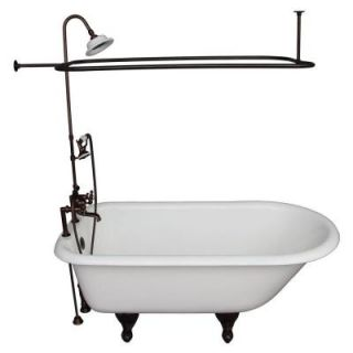 Barclay Products 5 ft. Cast Iron Ball and Claw Feet Roll Top Tub in White with Oil Rubbed Bronze Accessories TKCTR7H60 ORB4