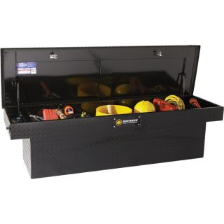 Deep Crossover Truck Box with Pushbutton Locking Latches — 60in. x 69in. x 14 1/2in. x 19in. x 20in., Gloss Black  Crossbed Boxes