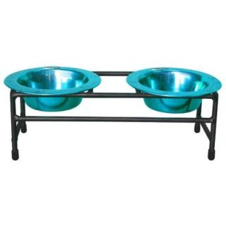 Platinum Pets 1 Cup Wrought Iron Modern Diner Cat Stand with Extra Wide Rimmed Bowls in Teal CDDS8TL