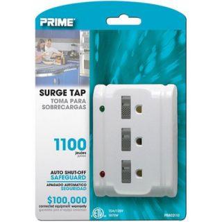 Prime 3 Outlet 1100 Joule Surge Tap, Auto Shut Down, White