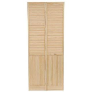 Kimberly Bay 32 in. x 80 in. Louver Panel Solid Core Unfinished Wood Interior Closet Bi fold Door DPBPLPC32