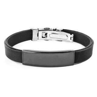 West Coast Jewelry Blackplated Stainless Steel ID Black Rubber