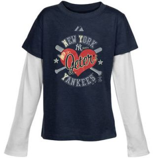 Majestic Derek Jeter New York Yankees Youth Girls #2 Slugger T Shirt   Navy Blue
