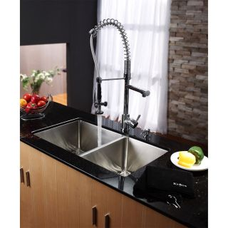 Kraus KHU103 33 KPF1602 KSD30 33 Undermount Double Bowl Stainless Steel Kitchen Sink with Kitchen Faucet and Soap Dispenser
