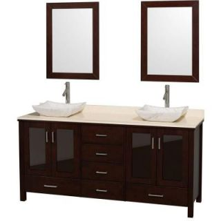 Wyndham Collection Lucy 72 in. Double Vanity in Espresso with Marble Vanity Top in Ivory, Carrera Marble Sinks and 24 in. Mirrors WCV01572ESIVGS3
