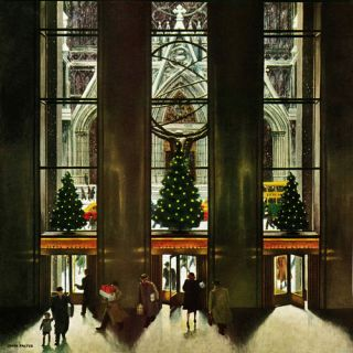 St. Patricks Cathedral at Christmas by John Falter Painting Print on
