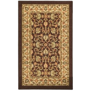Rubber Back Brown Traditional Floral Non Slip Door Mat Rug (16 x 26