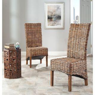 Safavieh St Thomas Isla Indoor Wicker Brown High Back Side Chairs (Set