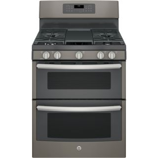 GE 30 in 5 Burner/2.5 cu ft Self Cleaning Double Oven Convection Gas Range (Slate)