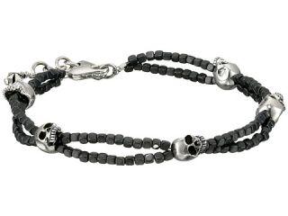 King Baby Studio Square Hematite Double Strand Bracelet with Skulls Purple
