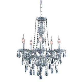 Elegant Lighting 5 Light Stainless Steel Pendant with Silver Shade Grey Crystal EL7955D21SS SS/RC