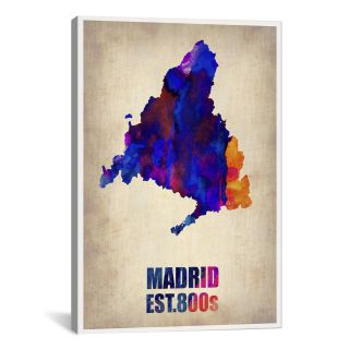 Madrid Watercolor Map by Naxart Graphic Art on Canvas by iCanvas