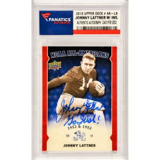 Johnny Lattner Notre Dame Fighting Irish  Authentic Autographed 2013 Upper Deck NCAA All American #AA LA Card with Go Irish! Inscription