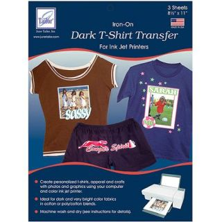 June Tailor 8 1/2 Inch by 11 Inch Dark T Shirt Inkjet Transfers, 3 Pack Multi Colored