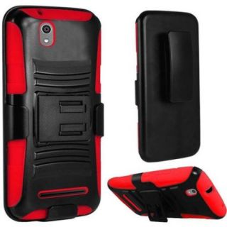 Insten Hard Dual Layer Plastic Silicone Cover Case w/Holster For ZTE Lever LTE   Black/Red
