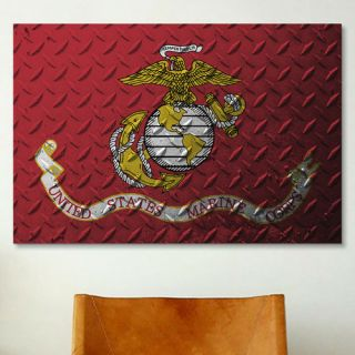 Flags U.S. Marine Metal Grunge Graphic Art on Wrapped Canvas