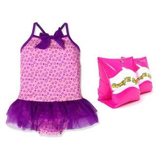 JumpN Splash Girls Purple Hearts Tutu One Piece Swimsuit