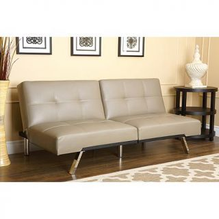 Abbyson Living Mackenzie Bonded Leather Convertible Sofa   Taupe   7874563