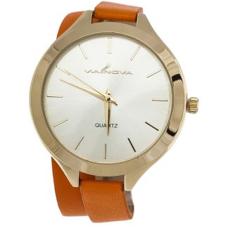 Via Nova Womens Gold Case with Wrap Orange Leather Strap Watch