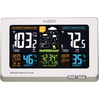 La Crosse Technology Wireless Atomic Digital Color Forecast Station with Alerts, White