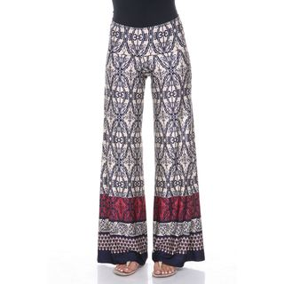 White Mark Womens Beige and Navy Moroccan Palazzo Pants