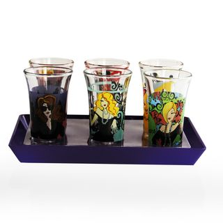 American Atelier Working Girls 7 piece Shot Glasses with Purple Tray