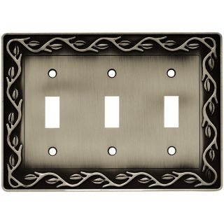 Brainerd 3 Gang Brushed Satin Pewter Toggle Wall Plate