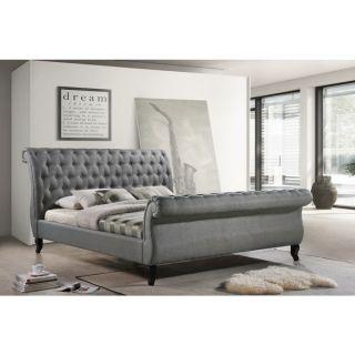 LuXeo Nottingham King Grey Tufted Fabric Upholstered Sleigh Platform