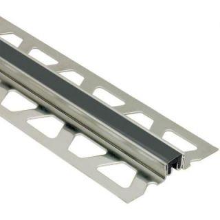 Schluter Dilex KSN Stainless Steel with Black Insert 1/2 in. x 8 ft. 2 1/2 in. Metal Movement Joint Tile Edging Trim EKSN125GS