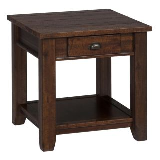 Jofran 731 3 1 Drawer and 1 Shelf End Table in Urban Lodge Brown