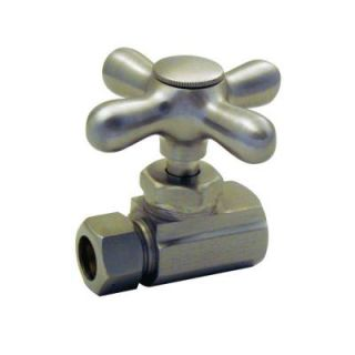 Westbrass Elizabethan Classics 1/2 in. IPS x 1/2 in. Compression Cross Handle Straight Stop SS1SN