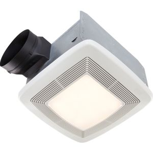 """Broan QTXE110FLT Bath Fan, 110 CFM for 6"""" Ducts w/Fluorescent Light, & Night Light (Energy Star Rated)   White"""