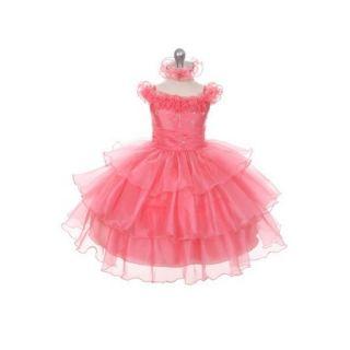 Rain Kids Coral Organza Off Shoulder Flower Girl Dress Girl 6M 4T