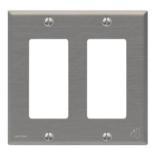 Leviton 2 Gang Standard Antimicrobial Treated Decora Wall plate   Powder Coated Stainless Steel 140 84409 A40