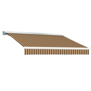 Beauty Mark 24 ft. DESTIN EX Model Manual Retractable with Hood Awning (120 in. Projection) in Brown and Tan Stripe DM24 EX BRNT